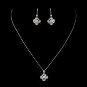 Antique Silver Clear CZ Crystal Earrings (Only) 8107 Necklace is Discontinued