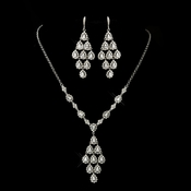 Antique Silver Clear CZ Crystal Chandelier Drop Necklace 6526 and Earrings 6662 Bridal Jewelry Set