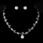 Antique Silver Clear CZ Stone & Diamond White Pearl Necklace 3871 & Earrings 7505 Bridal Jewelry Set