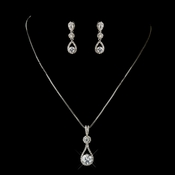Silver Clear CZ Crystal Tear Drop Necklace 5042 & Earrings 5405 Bridal Jewelry Set