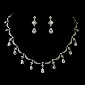 Antique Silver Clear Pear Cut CZ Necklace 5113 & Earrings 5559 Bridal Jewelry Set