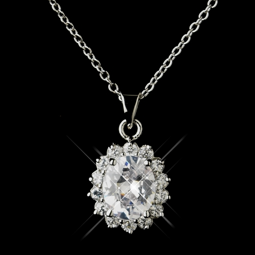 Antique Silver Clear Centered Pendant Necklace 8625