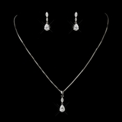 Antique Silver Clear Tear Drop CZ Crystal Necklace 5090 & Earrings 5500 Bridal Jewelry Set