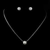 Antique Silver Clear Round CZ Stone Necklace 3534 & Earrings 3553 Bridal Jewelry Set***Only 1 Necklace Left ****