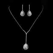 Antique Silver Clear CZ Crystal Tear Drop Necklace 2580 and Earrings 5172 Bridal Jewelry Set
