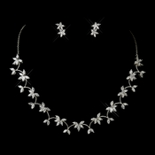 Antique Silver Clear Floral CZ Necklace 2674 and Stud Earrings 2630 Bridal Jewelry Set