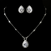 Antique Silver Clear CZ Pear Cut Crystal Necklace 2729 & Earrings 5141 Bridal Jewelry Set