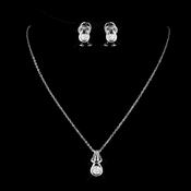 Antique Silver Clear CZ Stone Necklace 2742 & Earrings 1960 Bridal Jewelry Set