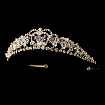 * Gold Clear Crystal & Rhinestone Tiara Headpiece 8439