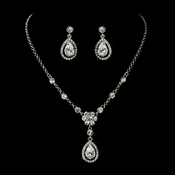Antique Silver Clear Tear Drop CZ Stone Necklace & Earrings Set 8010