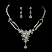 Silver Ivory Pearl & Floral CZ Necklace & Earrings Bridal Jewelry Set 8701