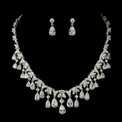 Silver Clear CZ Pear Drop Crystal Bridal Jewelry Set 71803