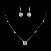 Antique Silver Clear Princess Cut CZ Necklace & Earrings 8652