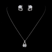 Silver Clear CZ Crystal Necklace & Earrings Bridal Jewelry Set 8789