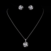Silver Clear and Black CZ Pendant Necklace & Earrings Bridal Jewelry Set 8785