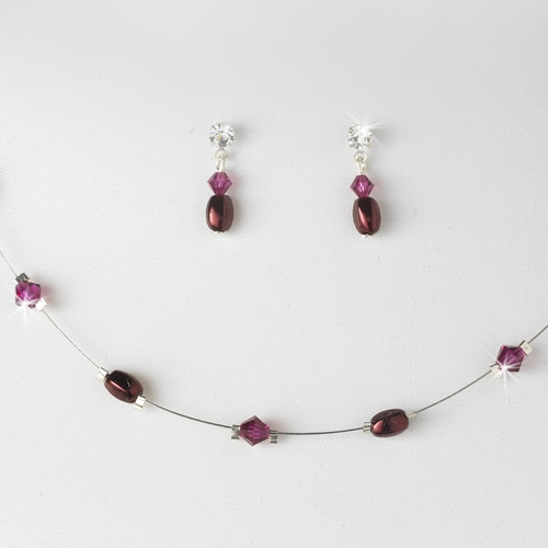 Burgundy Pearl & Swarovski Crystal Jewelry Set NE 226