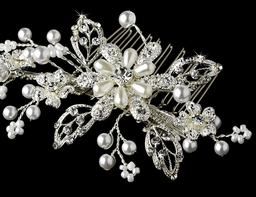 Pearl Crystal Couture Comb 1643 (Silver White or Gold Ivory)