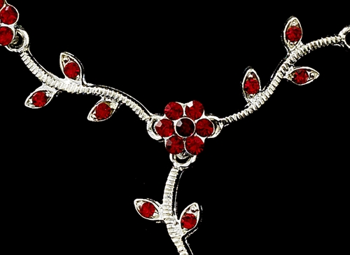 * Charming Necklace & Earring Set 383 Silver Red