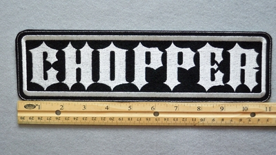 "430L L - CHOPPER 11"" - EMBROIDERY PATCH - WHITE - FREE SHIPPING!"