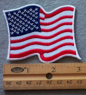 888 W -  Waving USA Flag -  Embroidery Patch