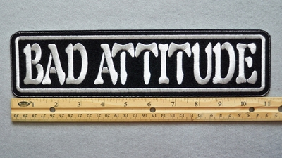 "439 L - BAD ATTITUDE 11"" - EMBROIDERY PATCH - WHITE - FREE SHIPPING!"
