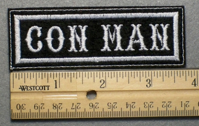 689 L - CON MAN - Embroidery Patch - White Border White Letters