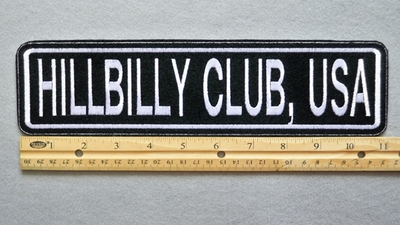 "442 L - HILLBILLY CLUB, USA 11"" - EMBROIDERY PATCH - WHITE - FREE SHIPPING!"