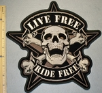2098 G - Live Free Ride Free Skull Face With Cross Bones In A Star - Back Patch - Embroidery patch