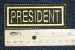 632 L - PRESIDENT PATCH - YELLOW - Embroidery Patch