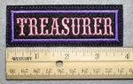 1026 L - TREASURER - Embroidery Patch - Purple Border Pink Letters