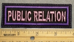 1492 L - Public Relation - Pink Lettering - Purple Border - Embroidery Patch