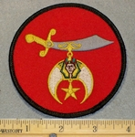 2081 W - Shriners Logo - Round Patch - Embroidery Patch