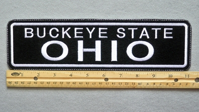 "449 L - OHIO BUCKEYE STATE 11"" - EMBROIDERY PATCH - WHITE - FREE SHIPPING!"