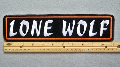 "451 L - LONE WOLF 11"" - EMBROIDERY PATCH - WHITE AND ORANGE - FREE SHIPPING!"