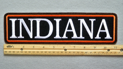 "452 L - INDIANA 11"" - EMBROIDERY PATCH - WHITE AND ORANGE - FREE SHIPPING!"