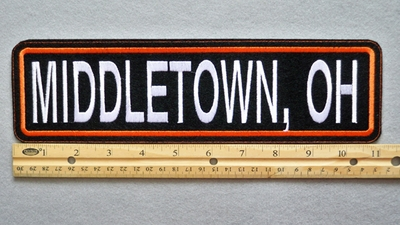 "454 L - MIDDLETOWN, OH 11"" - EMBROIDERY PATCH - ORANGE AND WHITE - FREE SHIPPING!"