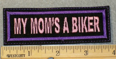 1862 L - My Mom's A Biker - Purple - Embroidery Patch