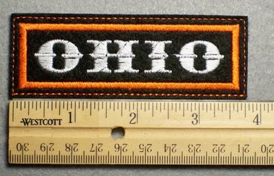 1119 L - OHIO -  Embroidery Patch - Orange Border White Letters