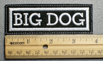 1116 L - BIG DOG - Embroidery Patch - White Border White Letters