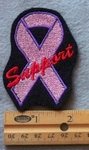 849 L - Pink Cancer Ribbon -  Embroidery Patch