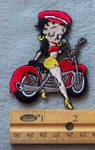 838 C - Betty Boop on Bike -  Embroidery Patch