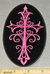 1813 G - Celtic Cross - Oval Patch - Pink - Embroidery Patch