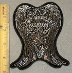 1876 G -Rhinestone - Bling -  Two Wheeled Passion Studded Angel Wings - Embroidery Patch