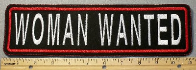 1884 L - Woman Wanted - Straight Rocker - Embroidery Patch
