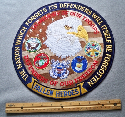 828 W - 11' The Nation Which Forgets Its Defenders Will Itself Be Forgotten Embroidered Patch