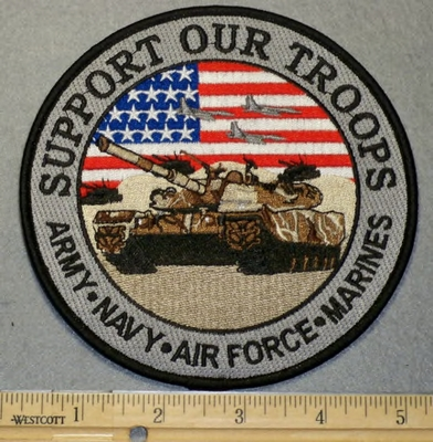 2071 W - Support Our Troops - 5 Inch Round With Tanker- Embroidery Patch