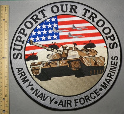 2077 W - Support Our Troops - Large Round Back Patch With Tanker - Embroidery Patch