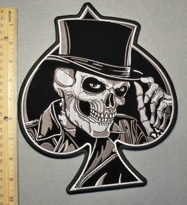 2096 G - Ace Of Spades With Skullface And Tophat - Back Patch