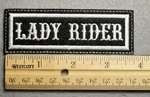1129 L - LADY RIDER - Embroidery Patch - White Border White Letters