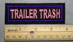 1033 L - TRAILER TRASH - Embroidery Patch - Purple Border Pink Letters